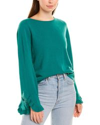 Autumn Cashmere Ruffle-sleeve Crewneck Cashmere Pullover Jumper - Green