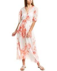 Lela Rose Blouson Sleeve Midi Dress - White
