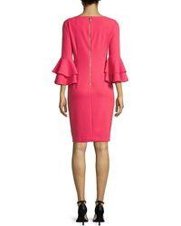 Calvin Klein Solid Bell Sleeve Sheath Dress - Pink