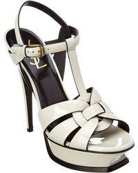 Saint Laurent - Tribute 105mm Patent Platform Sandals - Lyst