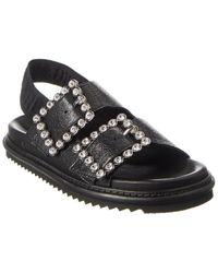 Zadig & Voltaire Alpha Grunge Leather Sandal - Black