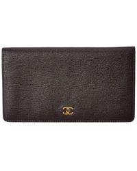 Chanel Brown Leather Bi-fold Wallet - Black