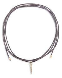 Panacea Tie-up Suede Cord Pendant Necklace - Metallic