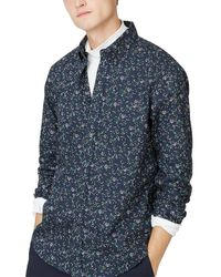 Club Monaco Slim Fit Winding Daisy Shirt - Blue