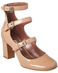 Tabitha Simmons Ginger Triple-strap Patent Leather Mary Jane Pump - Natural