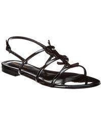 Saint Laurent 'cassandra' Logo Plaque Strappy Leather Slingback Sandals - Black