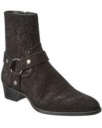 Saint Laurent Wyatt Suede Harness Boot - Black