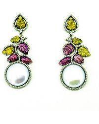 Arthur Marder Fine Jewelry 1.35 Ct. Tw. Diamond, Tourmaline, & 15.6mm Pearl Earrings - Green