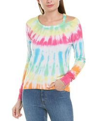 Chaser Cold-shoulder Tie-dye Knit Top - Green