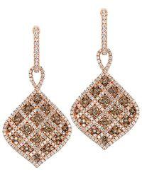 Le Vian Chocolatier 14k Rose Gold 1.63 Ct. Tw. Diamond Drop Earrings - Metallic