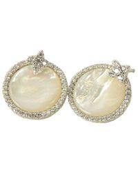 Apm Monaco Silver Nacre Cz Earrings - Metallic