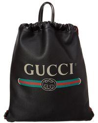 Gucci - Logo Printed Leather Drawstring Backpack - Lyst 2f0235fe98f81