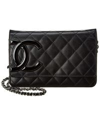 Chanel Black Quilted Caviar Leather Wallet On Chain