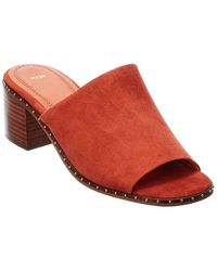 Maje Wave Suede Mule - Red