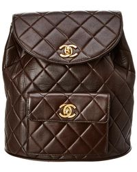 Chanel - Brown Quilted Lambskin Leather Classic Backpack - Lyst