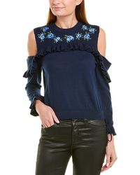 The Kooples Long-sleeve Open-shoulder Pullover With Frills & Floral Embroidery - Blue