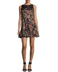 Anna Sui Lame Flounce Hem Mini Dress - Black