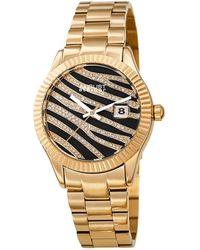 August Steiner Quartz Black & Gold Zebra Pattern Dial Ladies Watch - Metallic