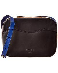 Marni Shell Box Bag Leather Crossbody - Black