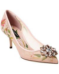 Dolce & Gabbana Lily Print Pumps With Brooch - Pink