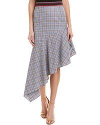 MILLY Charlotte Wool Skirt - Blue