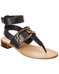 Tod's Chain Strap Leather Sandal - Black
