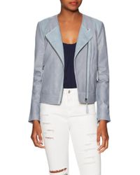 Soft Joie Fifi Leather Biker Jacket - Blue