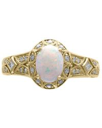 Effy Fine Jewellery 14k 0.80 Ct. Tw. Diamond & Opal Ring - Metallic