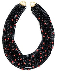 Arthur Marder Fine Jewelry 14k Black Spinel & Coral Layered Necklace