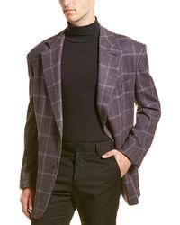 Tom Ford Check Wool & Silk-blend Blazer - Purple