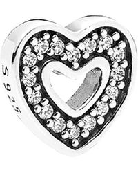 PANDORA Petite Locket Collection Silver Cz Sparkling Heart Element - Metallic