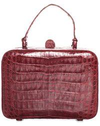 Nancy Gonzalez Dark Red Alligator Leather Mini Box Bag