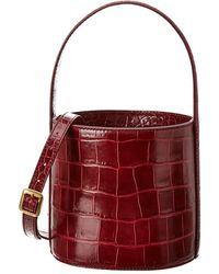 STAUD Bisset Croc-embossed Leather Bucket Bag - Red