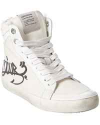Zadig & Voltaire Used High Flash Canvas Sneaker - White