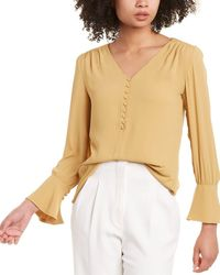 Catherine Malandrino Flounce Sleeve Blouse - Yellow
