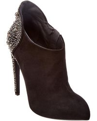 Giuseppe Zanotti Embellished Suede Bootie - Black