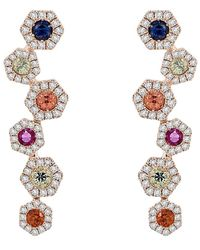 Diana M. Jewels . Fine Jewelry 14k 1.17 Ct. Tw. Diamond & Sapphire Earrings - Multicolor