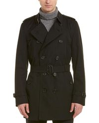 Burberry Kensington Mid Length Trench Coat - Black