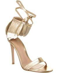 Gianvito Rossi Feather 100 Metallic Leather Sandal