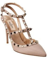 Valentino Rockstud Caged 100 Leather Ankle Strap Pump - Brown
