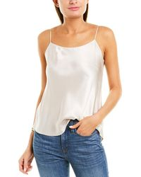 Vince Scalloped Silk Top - Brown