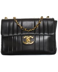 Chanel Black Quilted Lambskin Leather Jumbo Vertical Flap Bag