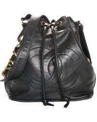 Chanel Black Caviar Leather Medium Cc Bucket Bag