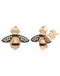 Gabi Rielle - 22k Gold Vermeil Yellow & Black Crystal Honey Bee Stud Earrings - Lyst