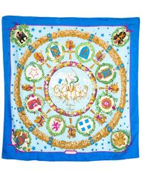 "Hermès ""emblemes De L'europe,"" By Caty Latham Silk Scarf - Blue"