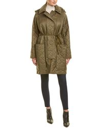 Burberry Diamond Quilted Hooded Coat - Green