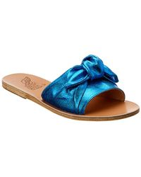 Ancient Greek Sandals Sandals Taygete Bow Metallic Canvas Slide - Blue