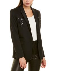 The Kooples Stretch Smocking Wool-blend Suit Blazer - Black