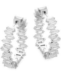 Pure Navy Crystal Silver Hoops - Metallic
