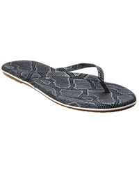 TKEES Studio Exotic Leather Flip Flop - Gray